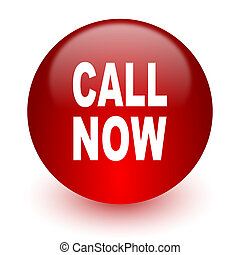 call now red computer icon on white background