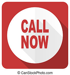 call now red flat icon