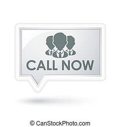 call now words with services on a speech bubble over white