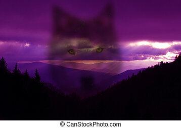 Phantom Wolf against purple mountain background
