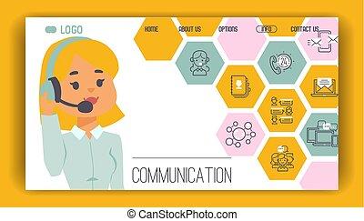 call-office, folk, operatör, nät, arbete, ikonen, mönster, ...