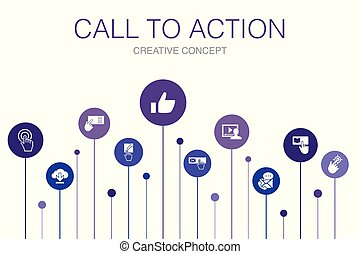 Call To Action Infographic 10 steps template. download, click here, subscribe, contact us icons