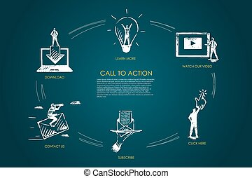 Call to action, learn more, watch our video, click here, subscribe, contact us vector set