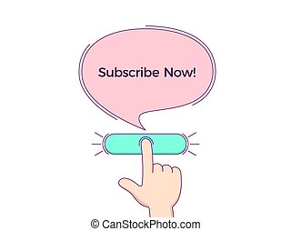 Call to action with text Subscribe Now. Cartoon human hand push the button by forefinger, CTA button