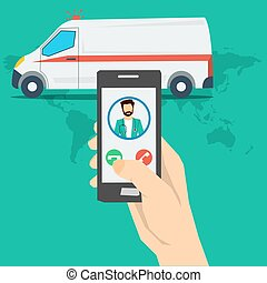 Call to doctor - hand with phone