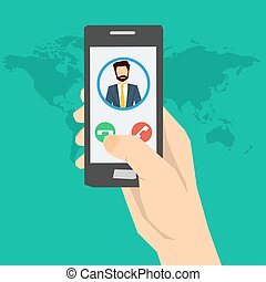 Call to man - hand with phone - Vector concept call to man ...