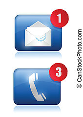 Call Us and email us inbox illustration design over white