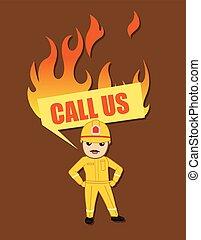 Call Us Banner Cartoon Firefighter