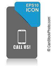 Call us black and blue vector pointer icon on white background in eps 10