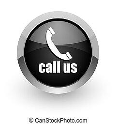 call us black chrome glossy web icon