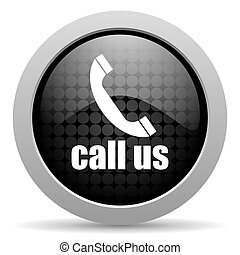 call us black circle web glossy icon