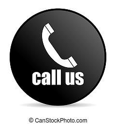 call us black circle web glossy icon