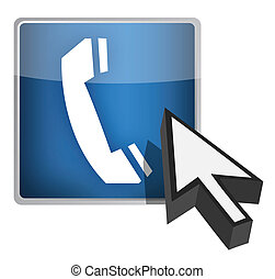 Call us blue button and cursor