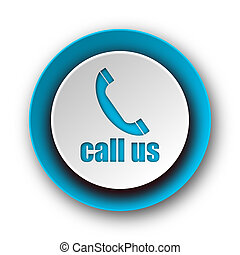 call us blue modern web icon on white background