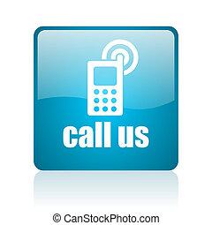 call us blue square web glossy icon