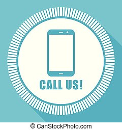 Call us editable flat vector icon, square web button, blue computer and smartphone application sign in eps 10