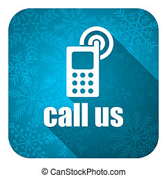 call us flat icon, christmas button, phone sign
