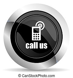 call us icon, black chrome button, phone sign