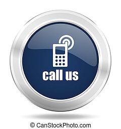 call us icon, dark blue round metallic internet button, web and mobile app illustration