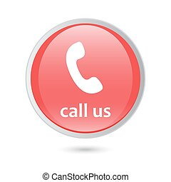 call us icon phone sign. red glossy button