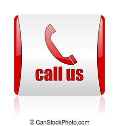 call us red and white square web glossy icon
