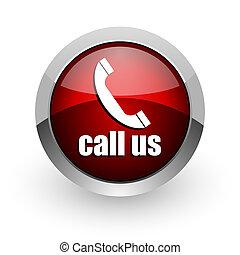 call us red circle web glossy icon