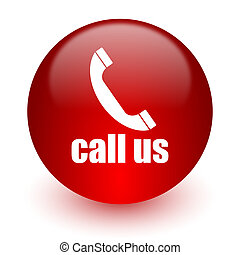 call us red computer icon on white background