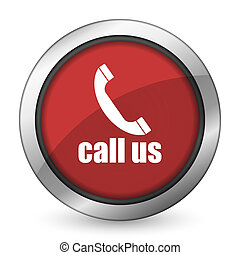 call us red icon phone sign