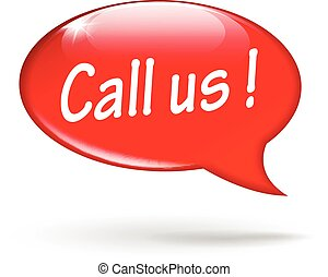 call us speech - illustration of red design speech for call...