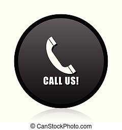 Call us vector black icon. Round phone sign. Web contact symbol.