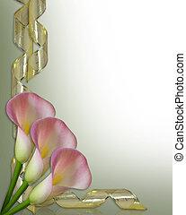 calla lilien, umrandungen, hochzeitskarten
