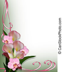 Image composition of pink calla lilies and orchids for wedding, birthday, party invitation, border, frame or background with copy space.