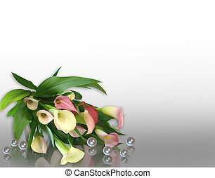Image and illustration composition of pink calla lilies, pearls for wedding, birthday, party invitation, border or frame with copy space.