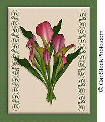 Calla Lilies Bouquet on canvas border