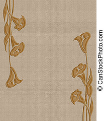 Calla lilies on linen background