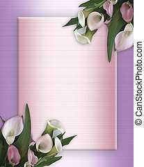 Calla Lilies pink Border on satin - Image and illustration...