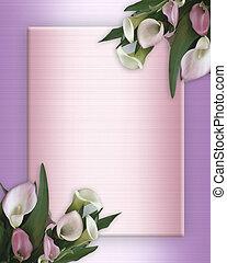 Calla Lilies pink Border on satin - Image and illustration...