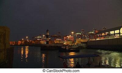 Callao Port At Lighthouse At Night, Lima, Peru