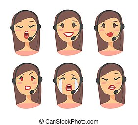 Callcenter worker with headset. Cartoon vector illustration caucasian woman agent
