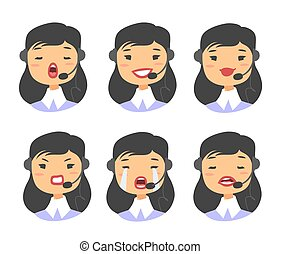 Callcenter worker with headset. Cartoon vector illustration asian woman agent