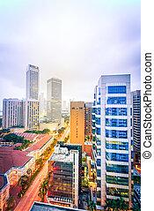 calle, aéreo, anochecer, céntrico, oficina, torre, residencial, contornos, singapur