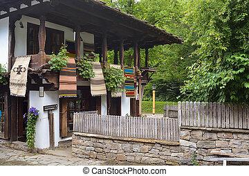 calle, bulgaria, complejo, arquitectónico, etara, vista