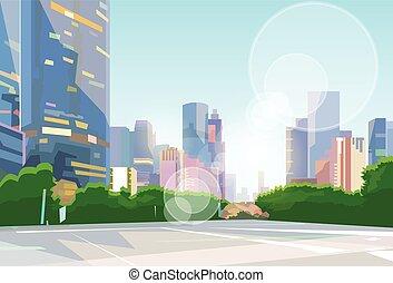 calle de la ciudad, vector, rascacielos, cityscape, vista