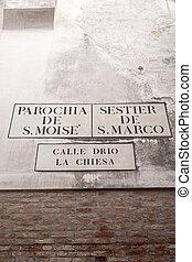 Calle Drio la Chiesa Street Sign, Venice
