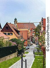 calle, en, dinkelsbuhl;, bavaria;, alemania