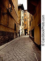 calle, en, firenze, ciudad, italia