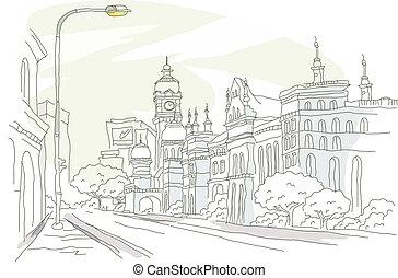 calle, exterior, edificio