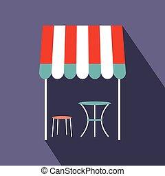 calle, francés, café, icono, plano, estilo