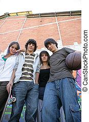calle, grupo, adolescentes