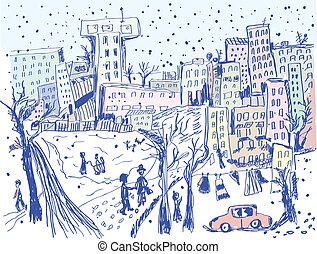 calle, invierno, -, ciudad, bosquejo, escena